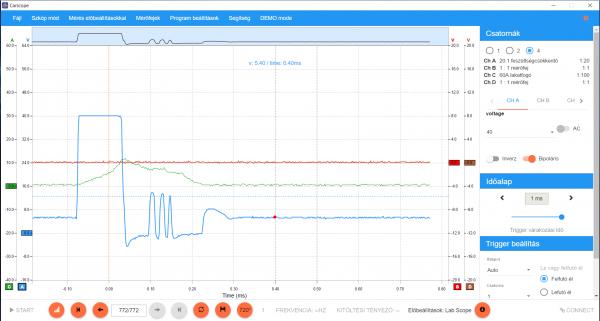 dízel injekotr és áramfelvétel mérése autódiagnosztikai szkóppal